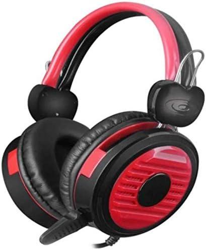 HNSYDS 通気性の快適さのために黒、赤ステッチゲームヘッドセットヘッドマウント調節可能なイヤークッション ゲーミングヘッドセット