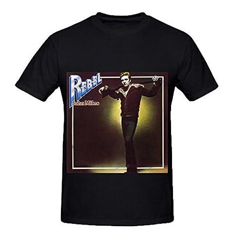 John Miles Rebel 80s Album Cover Men Crew Neck Customized T Shirt Black - Studded Revolution