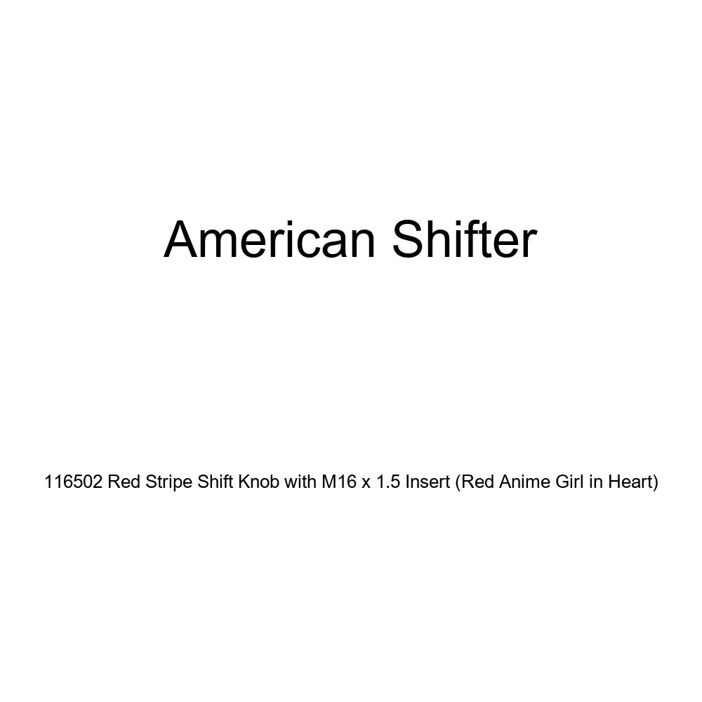Red Anime Girl in Heart American Shifter 116502 Red Stripe Shift Knob with M16 x 1.5 Insert