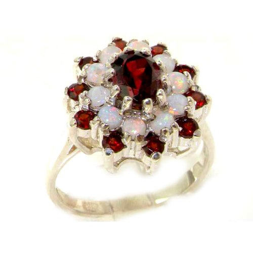 925 Sterling Silver Real Genuine Garnet and Opal Womens Cluster Ring - Size 11