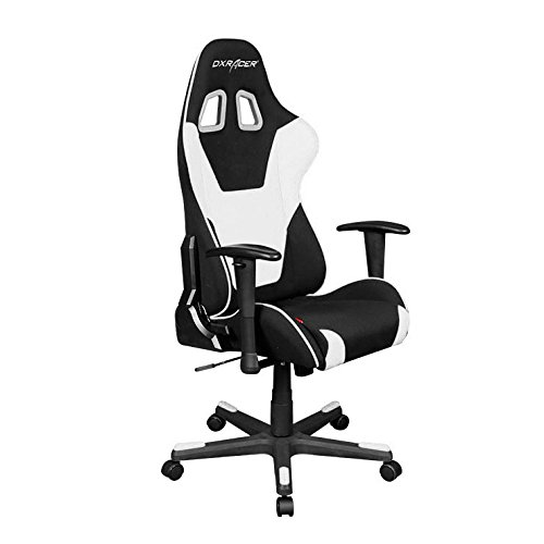 DXRacer Formula Series OH/FD101/NW Racing Seat Office Chair Gaming Ergonomic Adjustable Computer Chair with - Included Head and Lumbar Support Pillows (Black, White) by DXRacer
