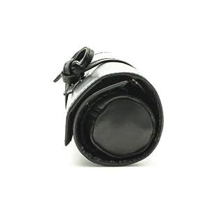 Tony Perotti Italian Cow Leather Premium Combination Jewelry Roll with Tie Closure, Black