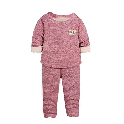 Unisex Baby Autumn Winter 2pcs Outfits Set Long Johns for Kids Thermal Underwear Fleece Lined Base Layer