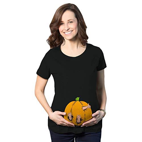 Maternity Pumpkin Baby Pregnancy Tshirt Cute Fall Halloween Jack O Lantern Tee (Black) - M