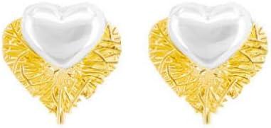 Empty Pendientes de Tachuelas para niñas Pendientes de Gota de corazón Fino para Mujer Pendientes Brillantes de Perlas