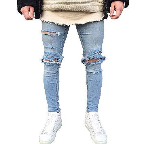 Pantalones Vaqueros De Los Hombres Jeans Moda Slim Fit Azul Ssig Algodón Cómodo Suave Pantalones Elásticos De Alta Elástico (Color : P, Size : 28)