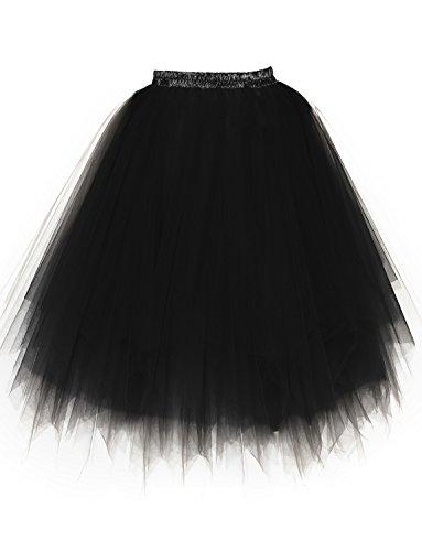 BeiQianE Femmes Annes 50 Long Jupon Multi-Couche Tulle Crinoline Slips Ballet Bubble Tutu Jupe 65 cm Noir