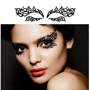 Halloween Makeup Hollow Cheeks (HJLWST 2Pcs The New Fashionable Makeup Art Creative Paper-Cut eye Patch Eyeliner Post 12 Lace Hollow Out Eye Shadow To Cheek ,)