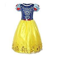 DaHeng Girls Layered Princess Belle Costume Cosplay Dress (Yellow,7-8Years)