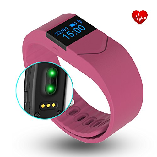 EIISON Fitness Tracker with Heart Rate monitor E5S Activity Watch Step Walking Sleep Counter Wireless Wristband Pedometer Exercise Tracking Sweatproof Sports Bracelet for Android and iOS (Pink)