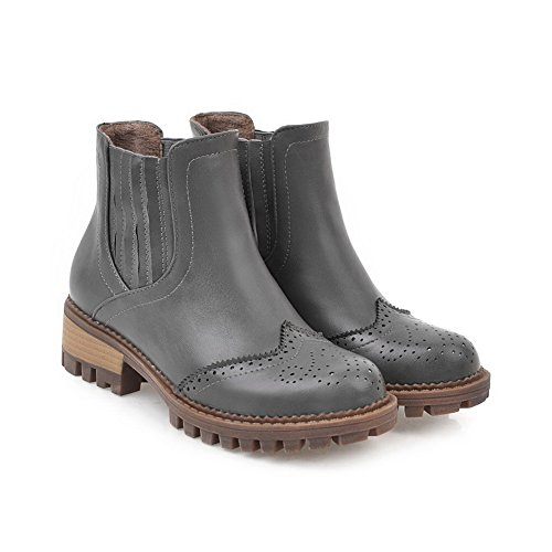 Toe Heel Warm Toe 1TO9 Boots Closure Assorted No Urethane Low Womens MNS02483 Resistant Leather Pointed Lining Smooth Boots Closed nbsp;Color Gray Water t8qxZ8g