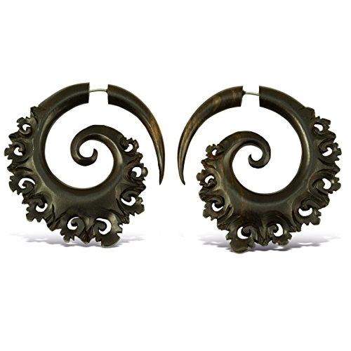 Fake Gauges Wooden Hoop Earrings Carved From Black Wood Sanur