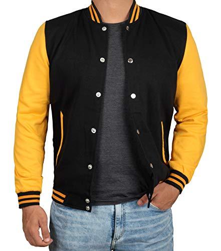 Decrum Black and Yellow Letterman Jacket Men - High School Baseball Varsity Jacket Mens