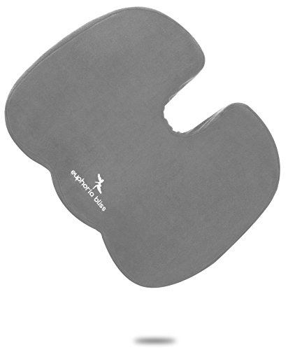 Coccyx Seat Cushion, Non-Slip Grip Bottom - 18 x 14.5 x 3.2inch - Cool Gel Memory Foam Orthopedic – Tailbone Pillow – Pain Relief For Sciatica, Back Support,Office Chair, Car Seat Pad, Wheelchair