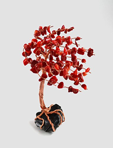 (Tree of Life Windswept with Red Coral Leaves on Obsidian)