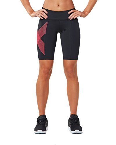 2XU Women's Mid-Rise Compression Shorts, Black/Striped Pink Glow, Small by 2XU (Image #1)