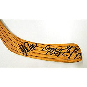 1994 95 Shawn Burr Signed Game Used Hockey Stick + McCarty + Kozlov Auto's Autographed NHL Sticks