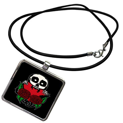 Photo Awesome Necklace - 3dRose BlakCircleGirl - Halloween - Love You to Death - Awesome Skull with Roses Biting a Heart - Necklace with Rectangle Pendant (ncl_298057_1)