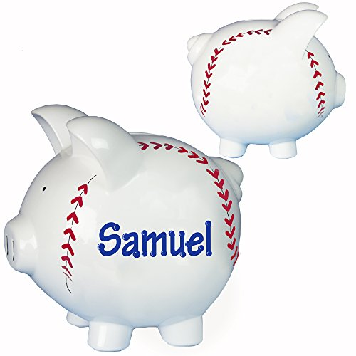 (MyBambino Hand Painted Personalized Baseball Piggy Bank Custom Banks with Base Ball Stitches for Boys)