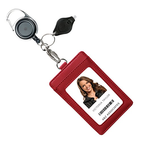 (Genuine Leather ID Badge Holder Wallet with Heavy Duty Carabiner Retractable Reel, Key Ring and Metal Clip, 3 Card Pockets. Holds Multiple Cards & Keys. Bonus Key Chain Flashlight. Vertical. Wine Red)