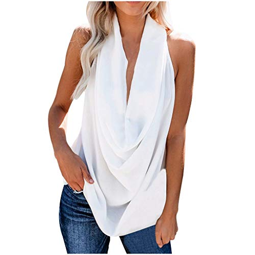 Witspace Fashion Women Summer Casual Solid Color Sleeveless Deep V-Neck Tops White