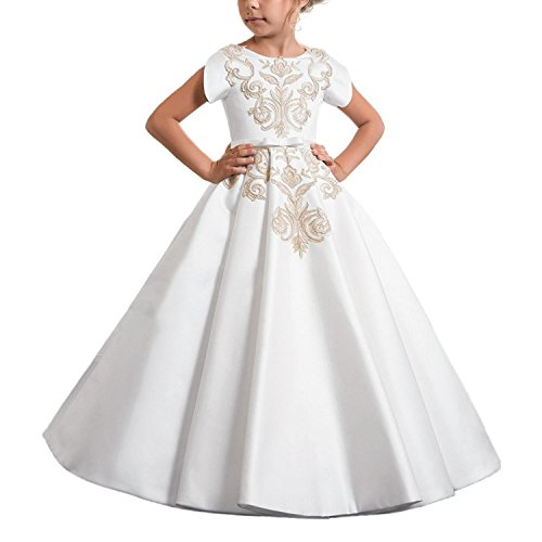 (Carat Elegant White Satin First Communion Girls Dress 0-12 Year Old White Size 4)