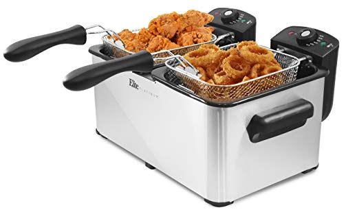 (Elite Platinum EDF-4080 Maxi-Matic 8 Quart Deep Fryer, Stainless Steel)