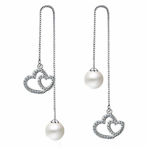 (megko Women's Simulated Pearl Threader Earrings Silver Long Stud Earrings Leaf Earring (style8) )
