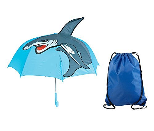 Shark Child UMBRELLA Cute Colorful Kids Rain Gear 28 inch in diameter FREE SHIP	 Shark Child UMBRELLA Cute Colorful Kids Rain Gear with Drawstring Blue - Children's Mako The Shop