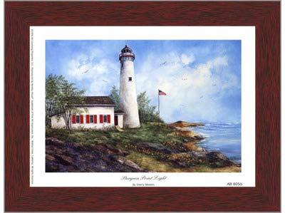 (Poster Palooza Framed Sturgeon Point Light- 8x6 Inches - Art Print (Walnut Brown Frame))