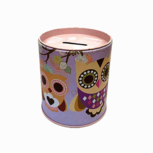 - Owl Piggy Bank Tin Save Spend Share Giving Coin Money Can Keepsake Home Bedroom Nursery Party Decor Ornament Pen Pencil Brushes Holder Stationery Dresser Organizer Cup Kids Boys Girls Adults - Purple