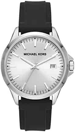 Michael Kors Men's Penn Stainless Steel Quartz Watch with Silicone Strap, Black, 22 (Model: MK7070)