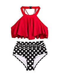 Uheng Women Falbala Bikini Set High Waist Bottom Flounce Swimsuit Bathing Suit