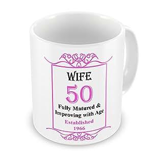 Esposa 50th cumpleaños establecido 1966años–taza rosa