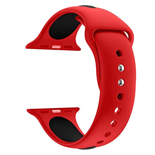 BOSJI 44MM Sports Soft Silicone Replacement Watch Band Quick Install Wrist Strap for Apple Watch Series 4 (Blue) (Red) ()