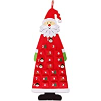 Hasde 3D Santa Felt Advent Calendar 2019 with Pockets 24 Days Hanging Christmas Countdown Calendar for Indoor Home Door Wall Decor Gray