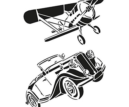 Stock Illustration Royalty Free - Plastic Template A4 Airplane and Car, Efco, Plastic Standard. Royalty Free Cliparts, Vectors, and Stock Illustration