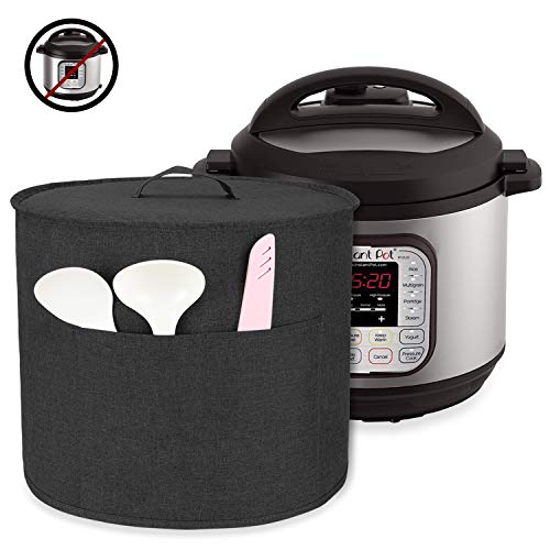 Luxja Dust Cover for 8 Quart Instant Pot, Cloth Cover with Pockets for Instant Pot (8 Quart) and Extra Accessories, Black (Large)