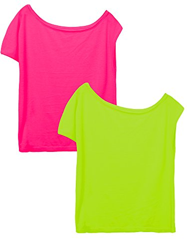 Coobey 2 Pack 80's T-Shirt Neon Colour Off Shoulder Shirts 1980's Costume Tops 80s Party Accessories Set, Green and Hot Pink (XXL)