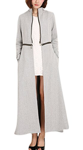 GESELLIE Women's Maxi Length Stand Collar Party Business Wool-Blend Trench Coat Grey XL by GESELLIE