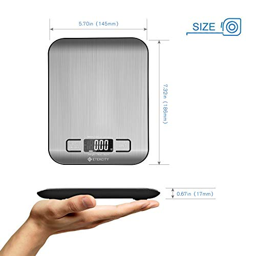 Etekcity Digital Kitchen Scale Multifunction Food Scale, 11lb 5kg, Silver, Stainless Steel (Batteries Included) by Etekcity (Image #5)