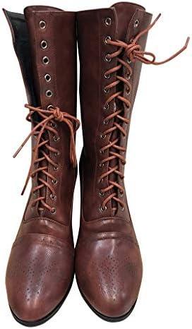 Ms·Wang Frauen Mitte Waden Hoher Stilettos Fersen Stiefel Trendige Retro Schnüre Stiefeletten Booties Damen Springer Braun Halbstiefel Hohe Stiefel