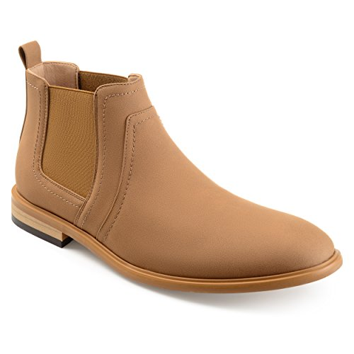 (Vance Co. Mens Faux Suede Chelsea Boots Taupe, 10 Regular US)