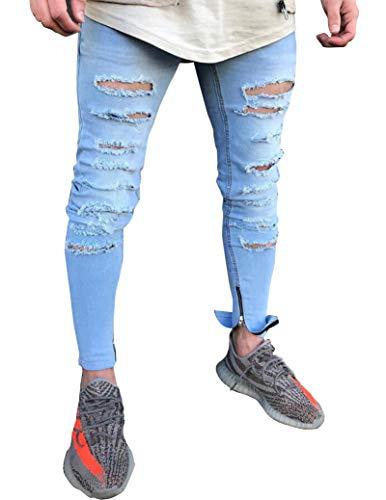 Suncaya Hombres Pantalones Ajustados Ripeado Motocicleta Denim Vintage Pantalones Hip Hop 1850