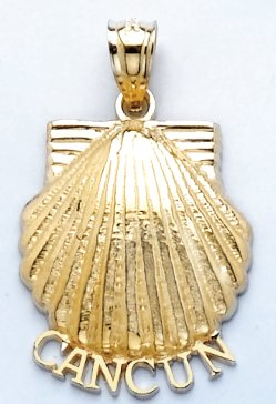 14k Yellow Gold Charm Cancun Under Scallop Shell 2-D