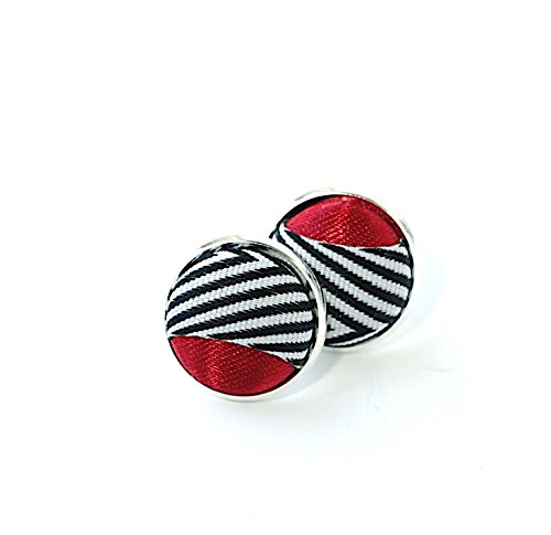 Red Satin & Herringbone Stripe Sterling Silver Formal -