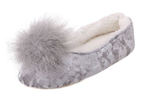 Arctic Paw Sunny Slipper - Fleece Lined With Faux Fur Pompoms