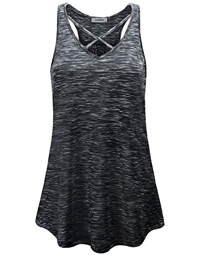 JCZHWQU Strappy Tank Top, Womens Sexy Low V Neck Halter Tops Stretchy Comfy Breathable Sleeveless Racerback Space Dyed Knitting Fitness Sports Tunic Tee Shirts Marled Black XL ()
