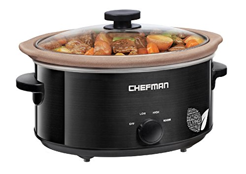 Chefman Slow Cooker, All Natural XL 7 Qt. Pot, Glaze-Free, Stovetop, Oven, Dishwasher Safe Crock; The Only Naturally Nonstick Paleo Certified Slow Cooker, Free Recipes Included