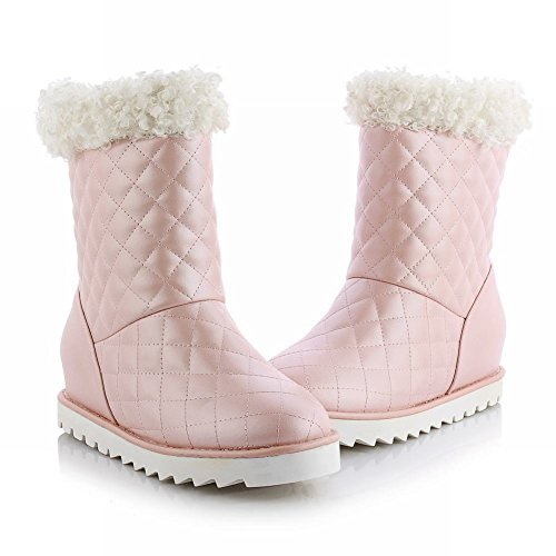 Carolbar Womens Sweet Fashion Cute Christmas Gift Lovely Winter Verborgen Hak Snowboots Roze